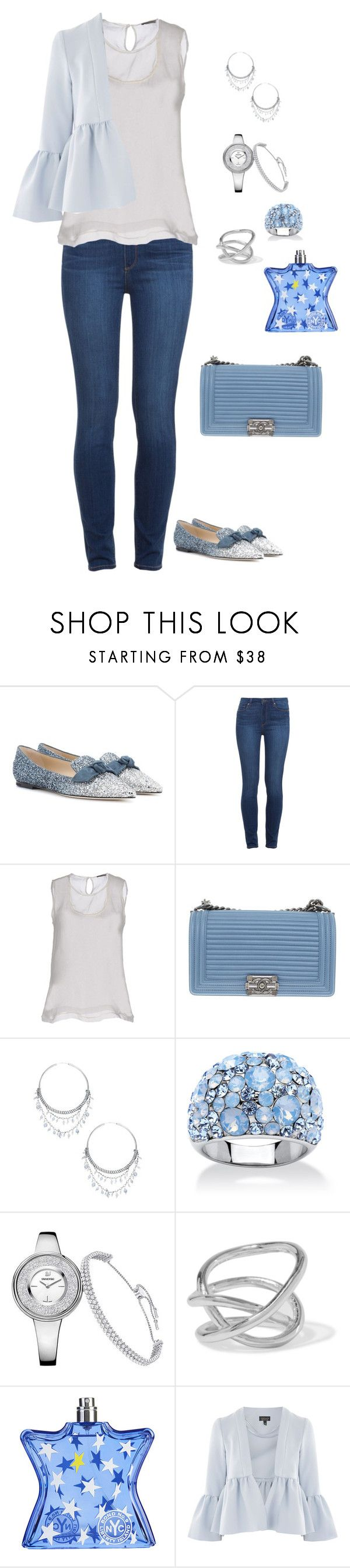 """The Blues"" by lalalace-1 ❤ liked on Polyvore featuring Jimmy Choo, Paige Denim, Bottega Veneta, Chanel, Chan Luu, Palm Beach Jewelry, Jennifer Fisher, Bond No. 9 and Topshop"