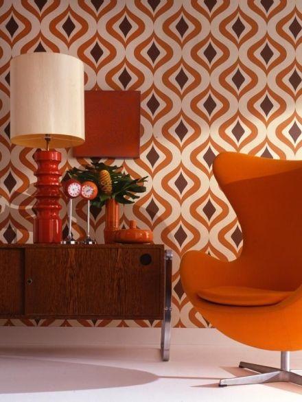 Retro interieur, Mid century modern interior, MCM wallpaper, retro design, Mid century pattern