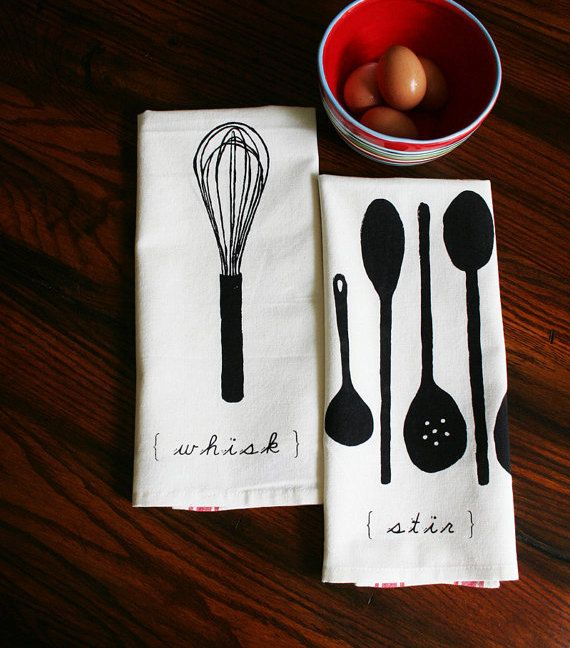 Kitchen Towels. Tea Towels. Screen Printed Towels. Whisk and Spoons. Gift Set of Two. Wedding Gift. Original Illustration Screen Print.