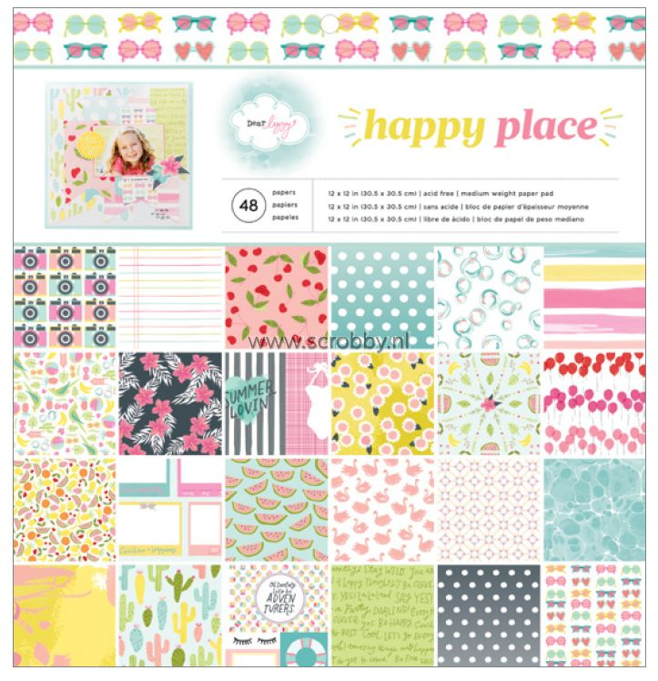 American Crafts Dear Lizzy Happy Place Paper Pad 12x12 | €13.50