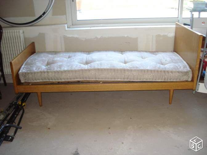 Lit vintage ann es 60 en ch ne 1 personne ameublement indre et loire d coration - Deco chambre annee 60 ...