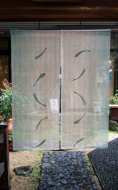 Fishes? I like this one. So delicate    A Japanese curtain - Noren by ProjectBashoPhotoTourJapan2008, via Flickr