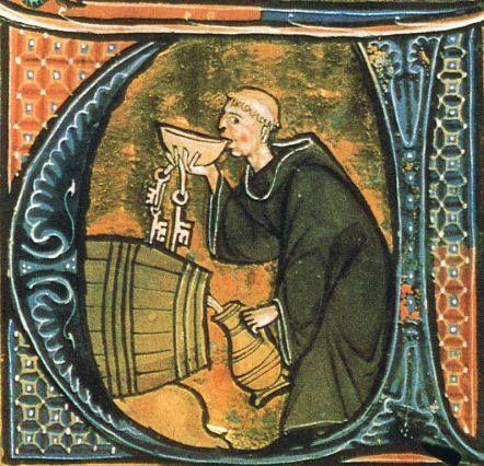 Monaco che testa la qualità del vino, una miniatura dal Li livres dou santé di Aldobrandino da Siena, Francia, fine XIII sec.