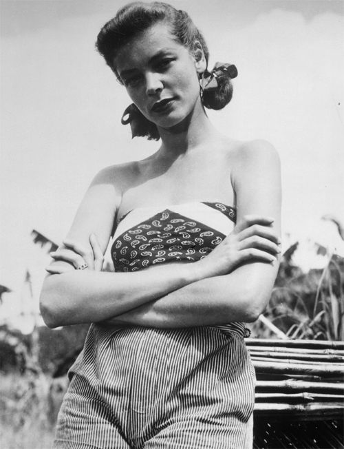 1940s pigtails lauren bacall movie star vintage fashion icon casual day sportswear shorts pants bandeau top photo print , by unknown photographer, via noirwhale.com