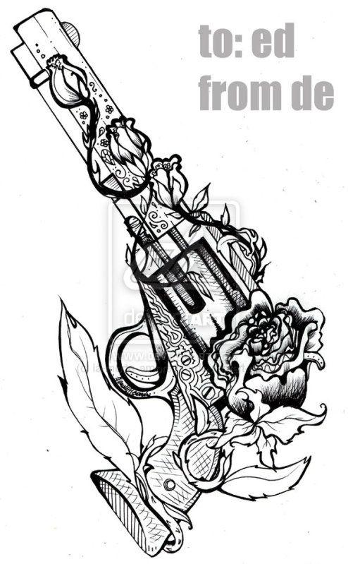 revolver tattoo sketch TatToOs ~ Guns | tattoos picture tattoo sketches