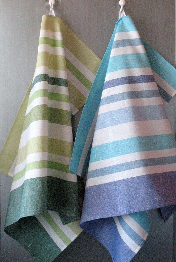 Lin coton plat de serviettes torchons lot de 2