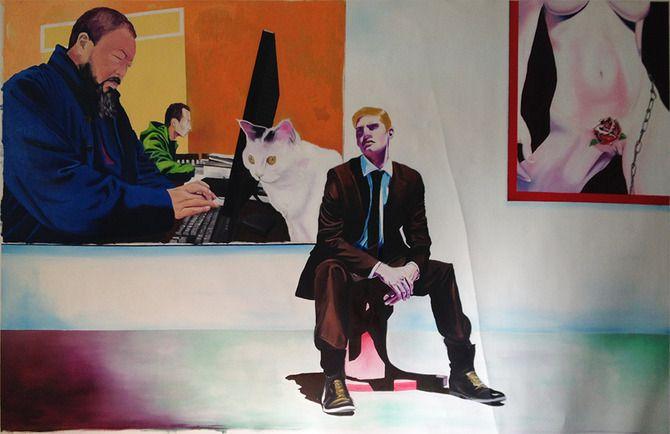 The Sentinels of Culture / Örszem oil on canvas / olaj, vászon 140x240 2015