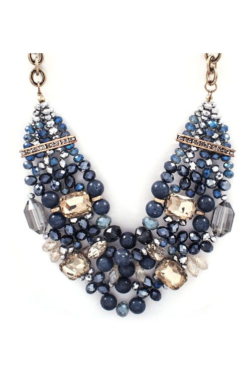 Capri Necklace in Sapphire Agate and Crystal//