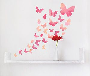 Fabric Watercolour Butterfly Wall Stickers - children's room