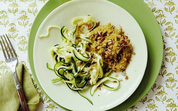Courgette ribbons with a boozy dressing, crunchy seeded breadcumbs and an irresistible green pepper sauce