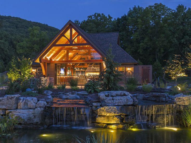 Timber Frame Pool House. Using TEKA Illuminationu0027s Beacon Stem Mount (BSM-CF) & 21 best Landscape Lighting Design images on Pinterest | Landscape ... azcodes.com