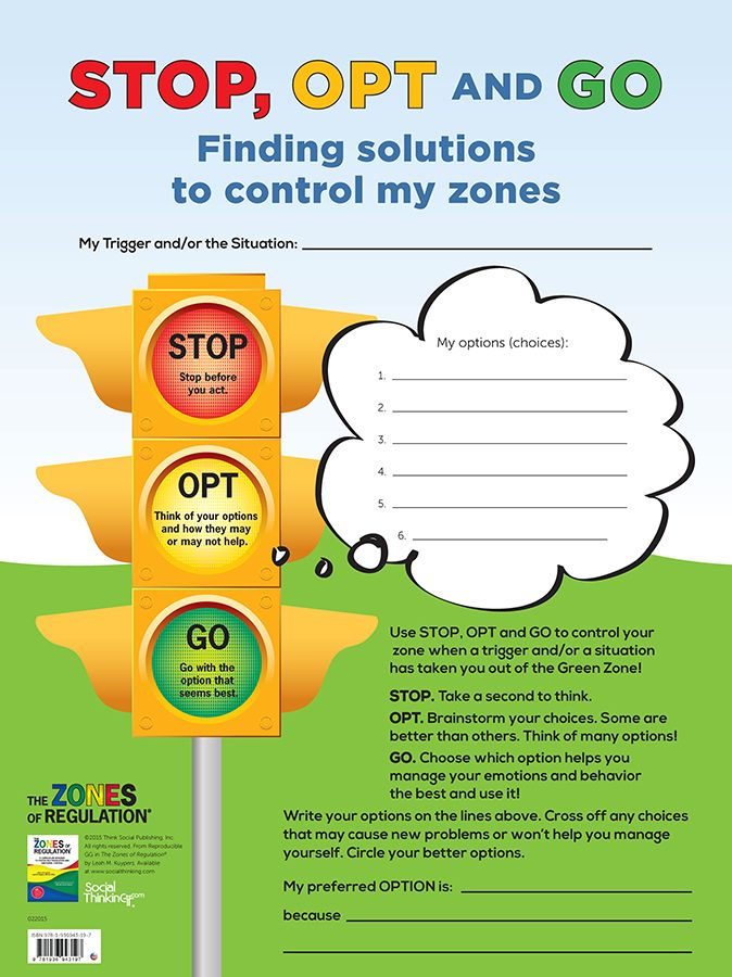 Zones STOP, OPT and GO (dry erase) – Poster gives students an easy-to-remember…