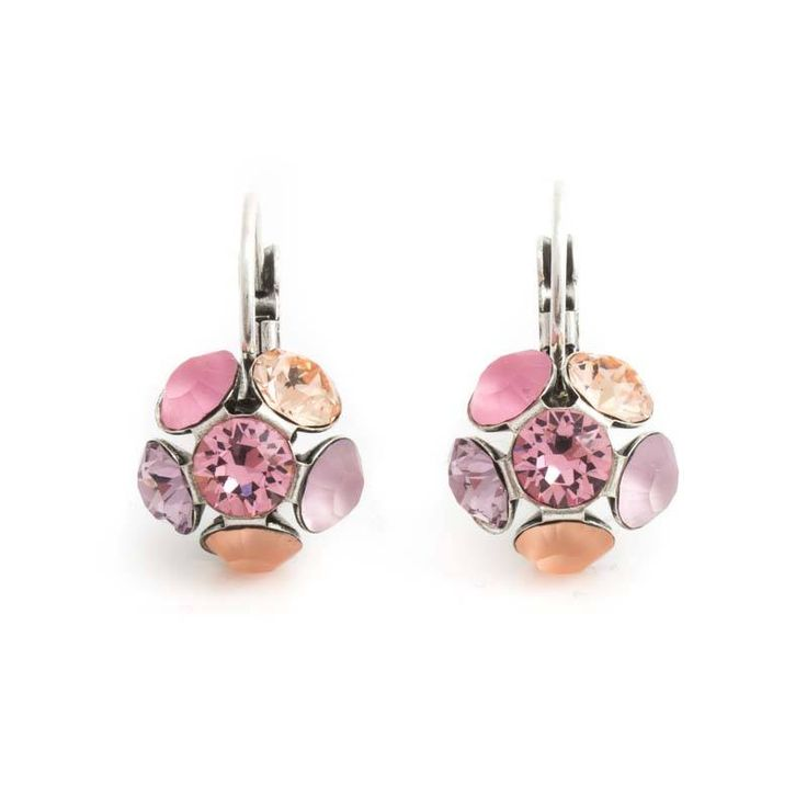 Moliere Paris Roze oorbellen flower met Swarovksi kristallen
