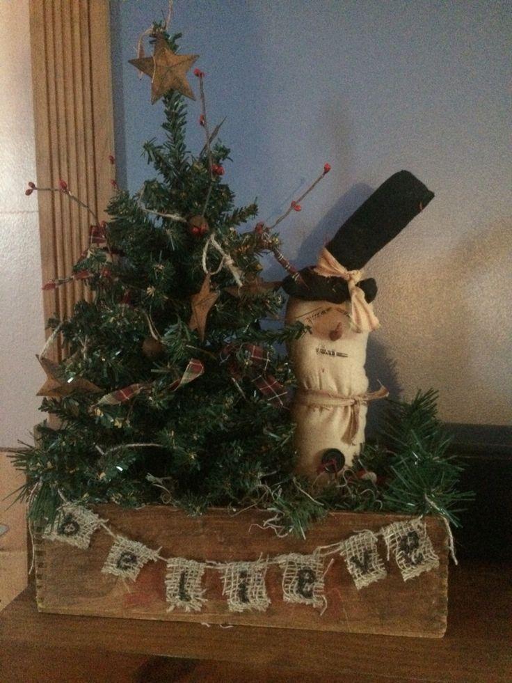 Primitive Christmas tree & Snowman   My Pinterest Home ...