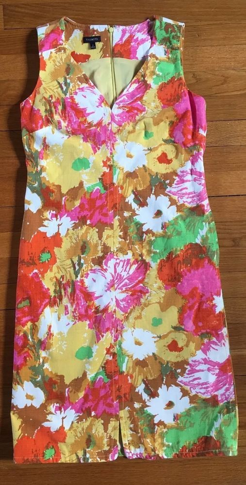 Talbots Dress WITH POCKETS Size Two (2) Woman's Peyton Painterly Sleeveless-New #Talbots #Shift #WeartoWork