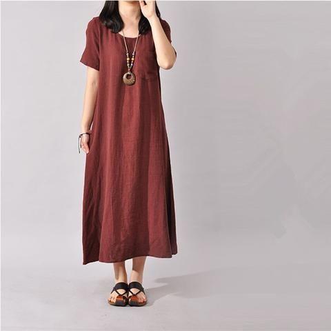 Women cotton linen short sleeve dress