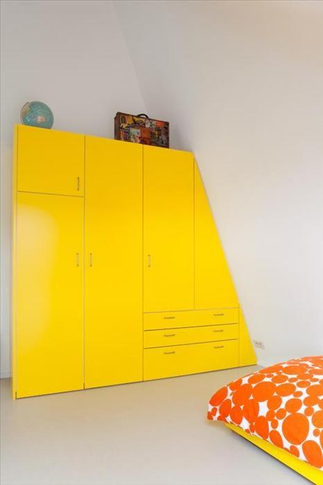 Love this unique storage solution!: Yellow Wardrobes, Dreams Houses, Design Room, Bilt Houses, Cupboards Ideas, Attic Cupboards, Design Home, Houses Design, Bureau