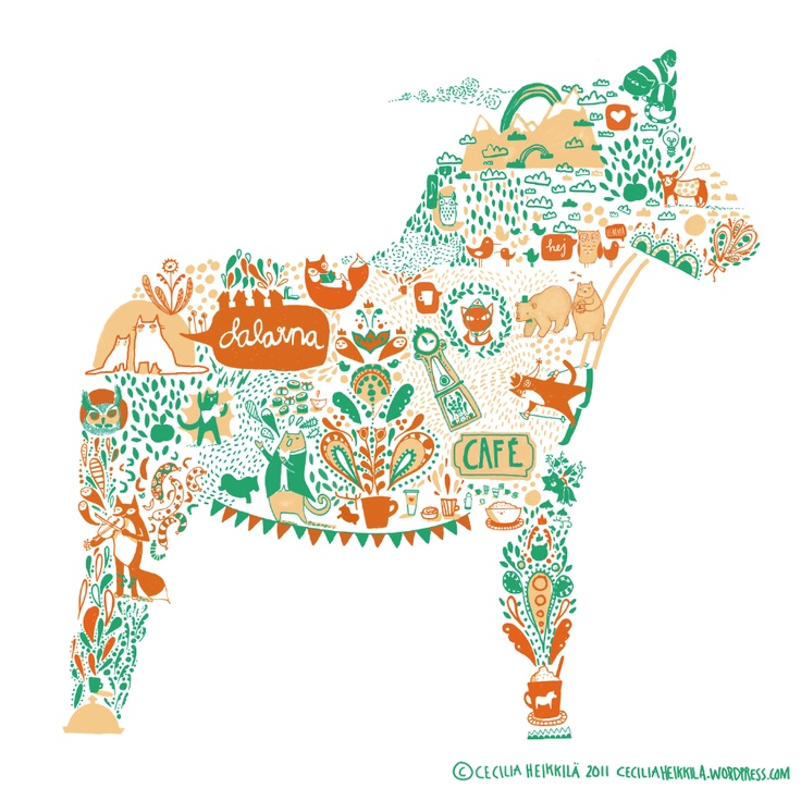 Pattern dedicated to Dalarna, Sweden. Illustration by issie (issie.se).
