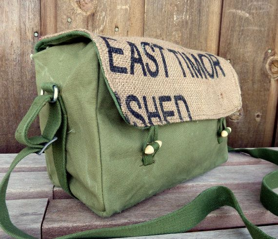 Vintage Military Messenger Bag  Burlap Flap by clpstudio on Etsy, $54.00  http://www.etsy.com/listing/90438285/vintage-military-messenger-bag-burlap?ref=af_you_favitem