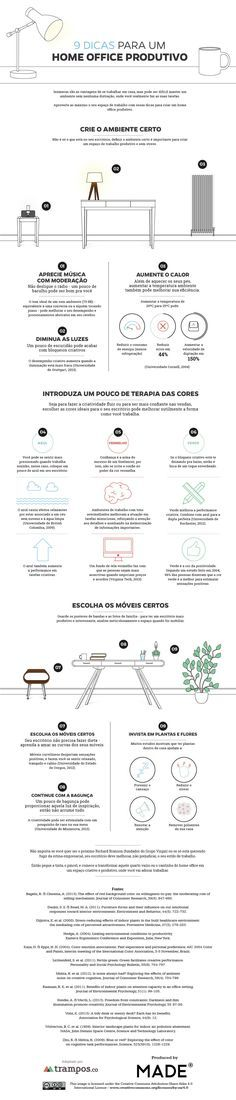 Infográfico: 9 dicas para um home office produtivo.