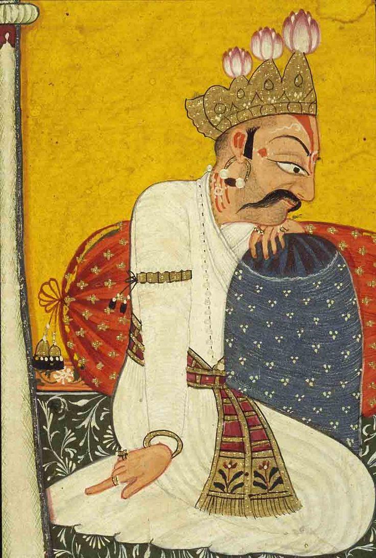 A King from the Shangri Ramayana. detail ca. 1700 Kulu, India
