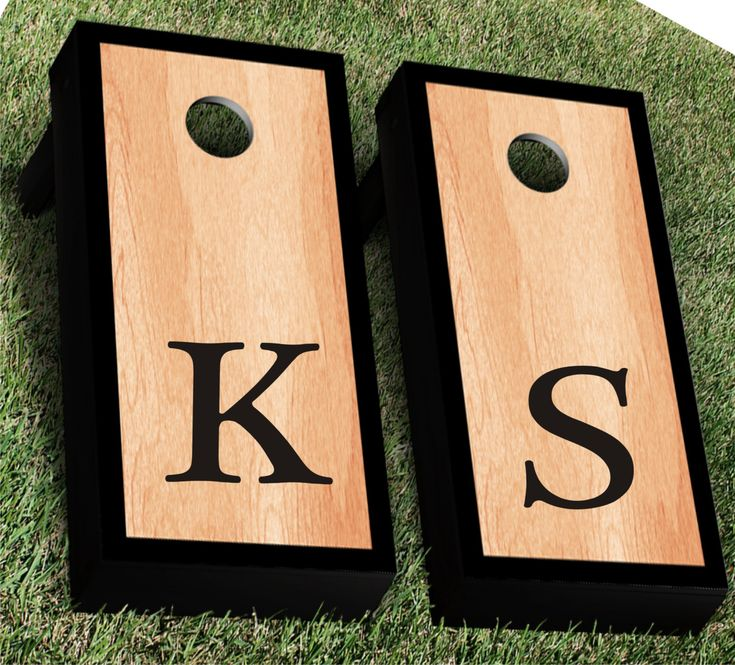 Monogram Cornhole Decal | Set of 2 | Personalized CornHole Sticker | Wedding Cornhole Decal | Wedding Decal | Corn Hole Decal by KrazySignsUSA on Etsy