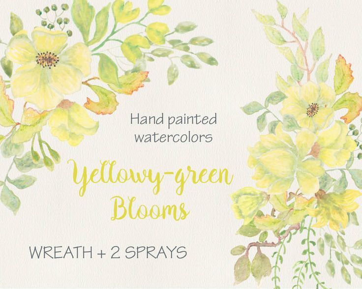 Watercolor wreath of exotic yellow/green blooms; hand painted watercolor clip art; wedding clip art; instant download by LollysLaneShoppe on Etsy
