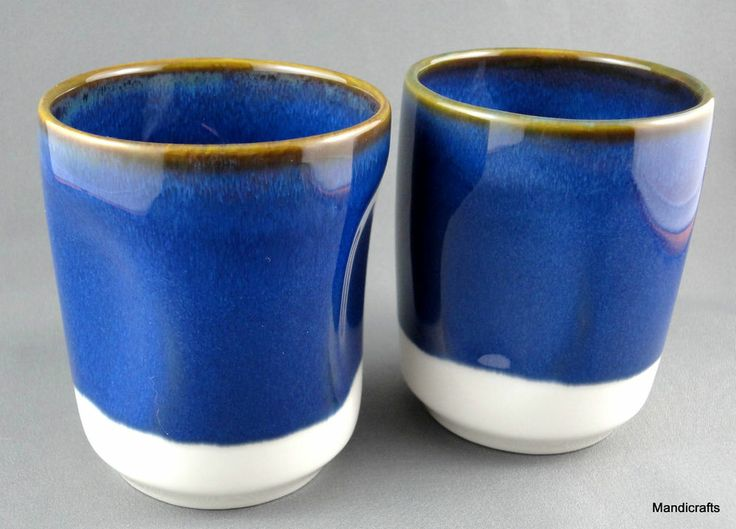 Tea Coffee Mug Beaker Cup Handle Grip Sides Cobalt Blue Pottery Cups Travel  With Lid And