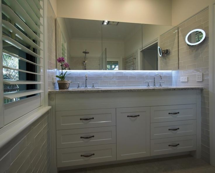 LED strip light beneath mirror cabinet, and make-up mirror with lighting.