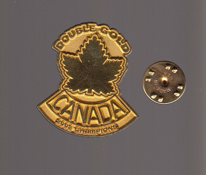 TEAM CANADA HOCKEY Double Gold 2002 Champions PIN Metal Hat Lapel Gold-Colored