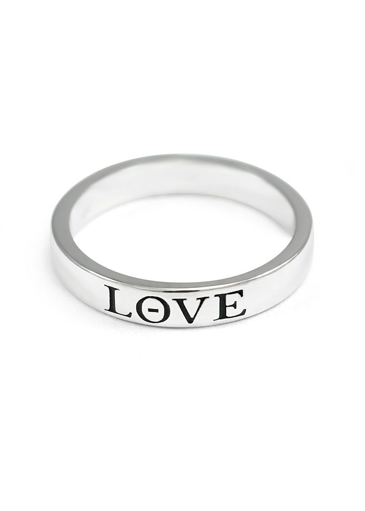 A beautiful dainty sterling Silver Love Ring with black enamel made by The Collegiate Standard. $28