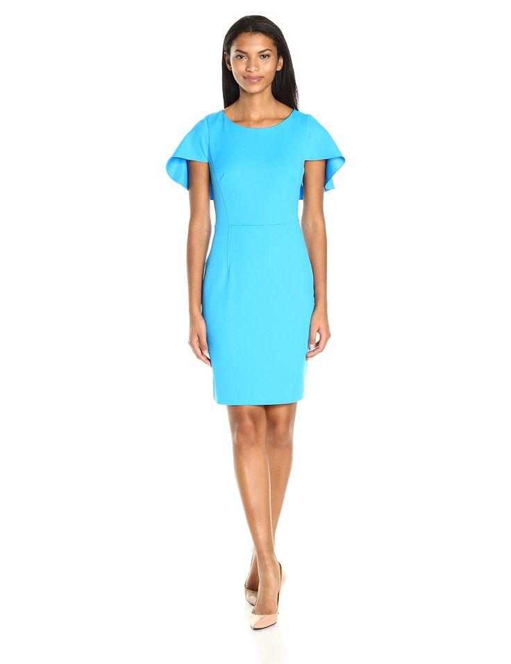 Adrianna Papell Women's Knit Crepe Sheath Dress with Shoulder Cape, Carolina Blue, 12