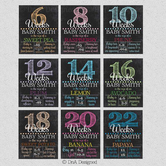 Bi Weekly Pregnancy Chalkboard Week Sign Photo Prop by DnADesigned