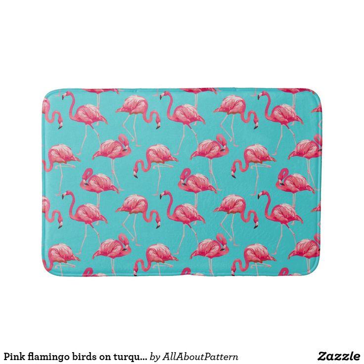 Pink flamingo birds on turquoise background bath mat | Zazzle.com