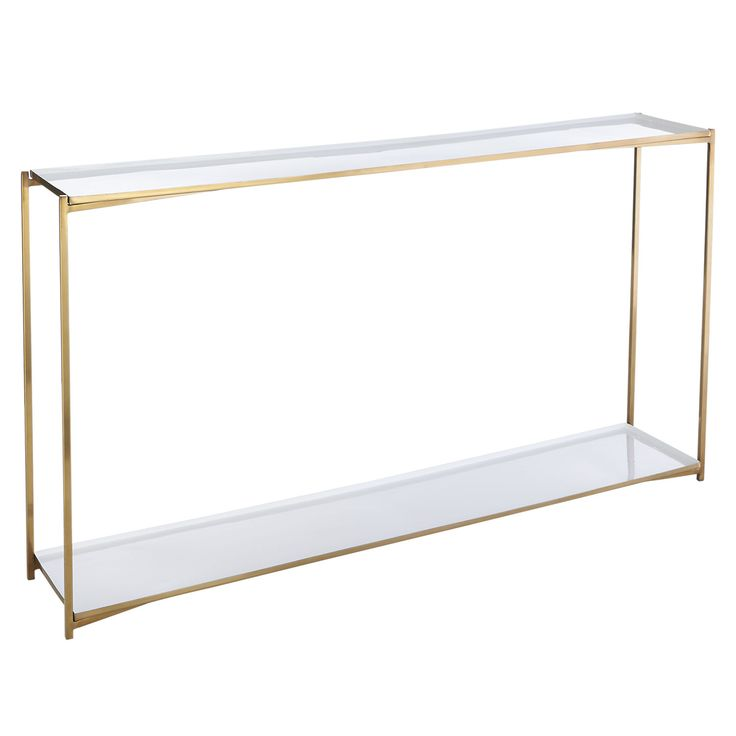 Shop cleo box frame console table.   Glossy white enamel, shiny brass and classic box construction—the definition of luxe minimalism.  Inset top and bottom shelves double the storage space of a traditional console.