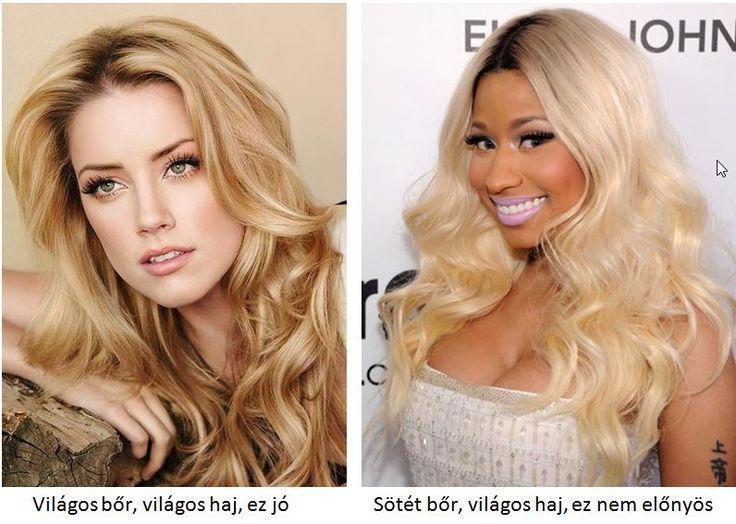 szőke haj és az arcbőr színe