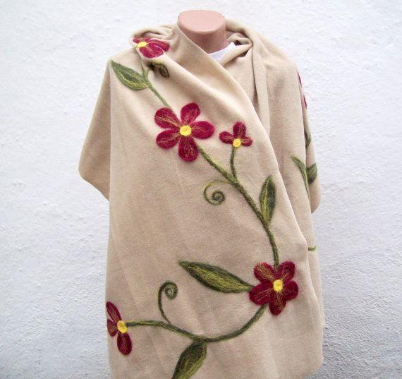 SALE 20  Was 60 Now 48Felted Flowered Scarf  Shawl Fleece by nurlu, $48.00