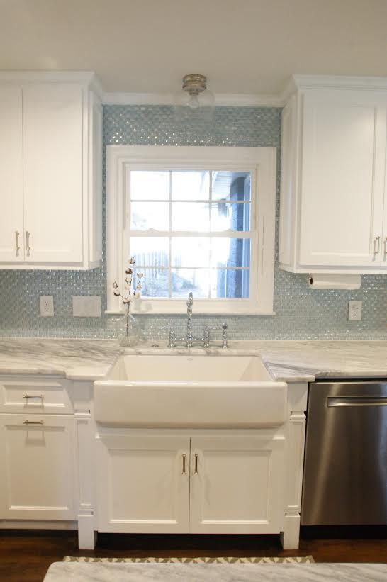 This beautiful kitchen design features our susan jablon 3 4 inch curved white milk glass subway