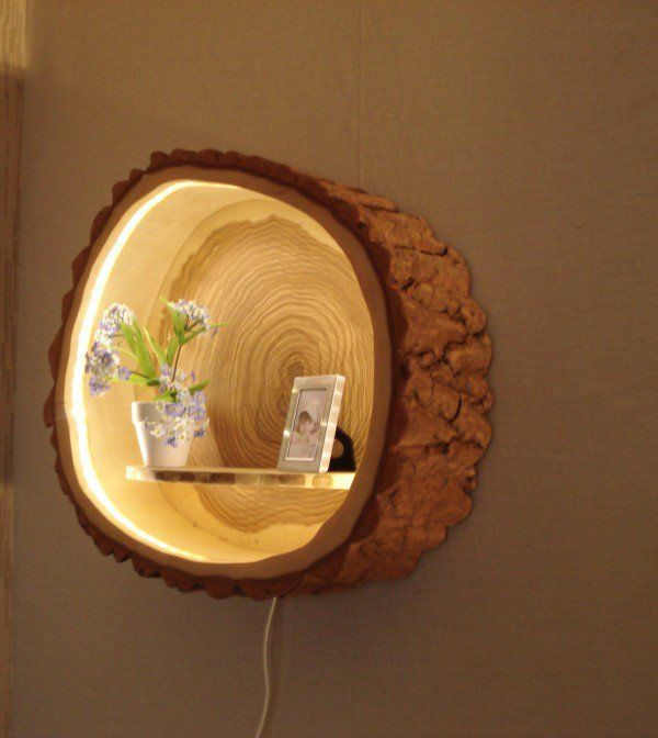 Check out this adorable tree trunk lamp shelf @istandarddesign