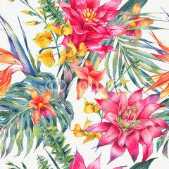 Vector vintage floral tropical seamless pattern.