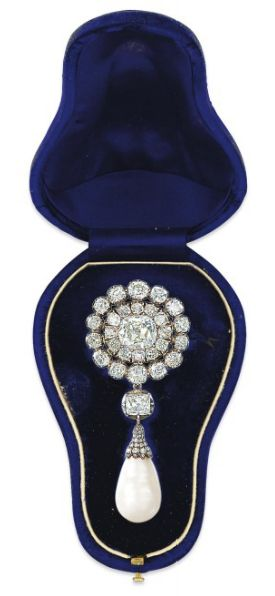 A 19TH CENTURY NATURAL PEARL AND DIAMOND BROOCH/PENDANT  The cushion shaped old-...