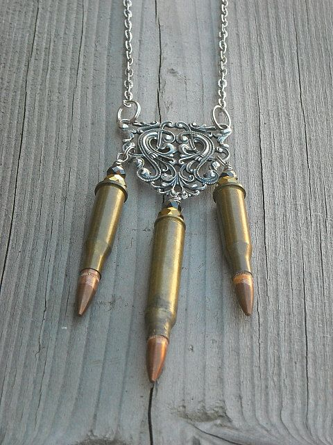 Bullet Necklace Bullet Casing Necklace Steampunk by InkandRoses13, $22.99