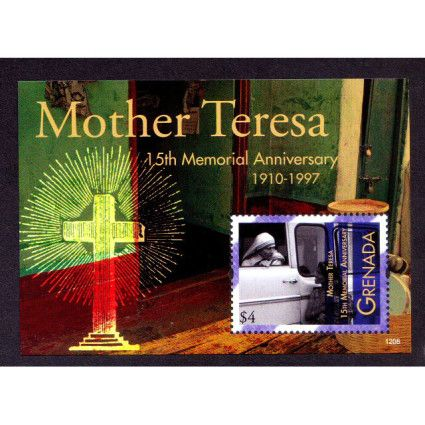 Grenada MNH SS, Mother Teresa, Nobel Peace, 15th Death Anniversary, Holy Cross