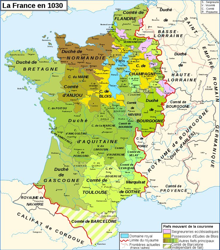 Carte de France en 1030 lors du règne des premiers rois capétiens. More maps, and text, at cartesfrance.fr.