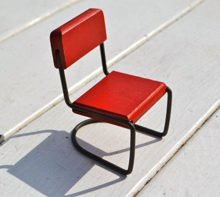 MID CENTURY MODERN Side Chair Red Wood Seat and Back Wire Frame Possibly  a  Strombecker chair by StudioVintage on Etsy