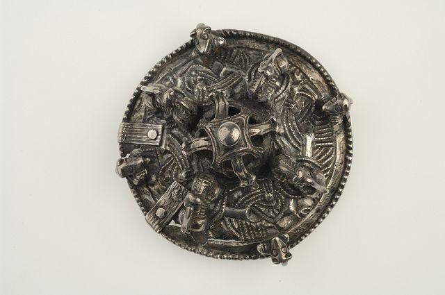 Round brooch. Silver. Väsby storgården, Skå, Uppland, Sweden. SHM 246. In the Historiska Museet in Stockholm.