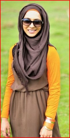 Copy from Amenakin's website (visit her Pearl Daisy shop). Brown and orange. I love Pearl Daisy <3 ❤ hijab style