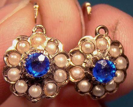 14k Sapphire Doublet Seed Pearls Pierced Drop Earrings 1890