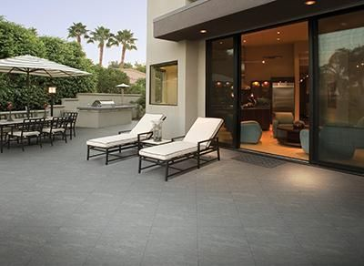 """Available in different complementary shapes, sizes, and shades, the stone look of the """"polar black"""" line of commercial technical porcelain tiles"""