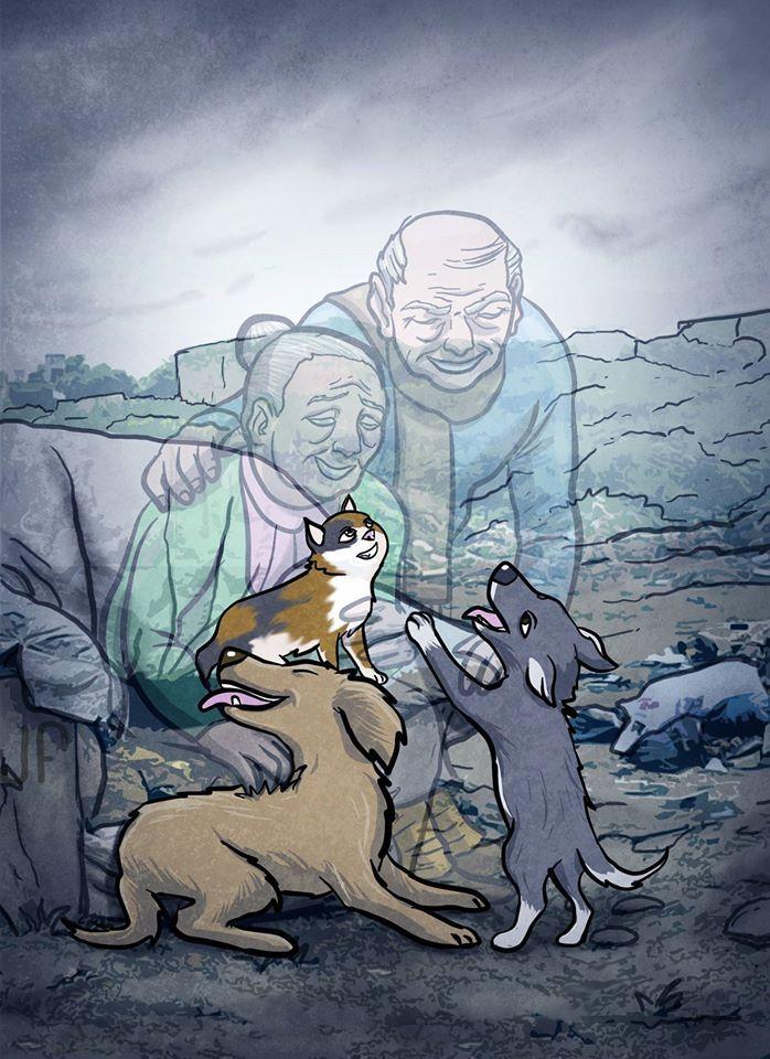 Perros de ancianos. Cuando los ancianos mueren y sus familiares botan a sus perros a la calle.